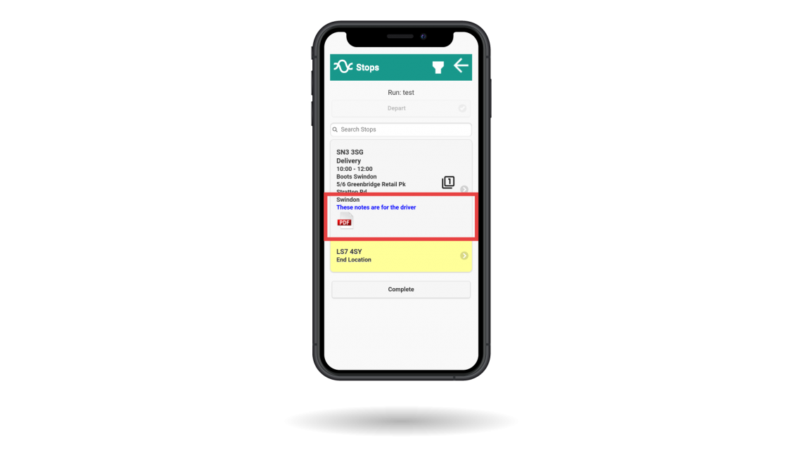 Pass on notes or documents to the drivers app