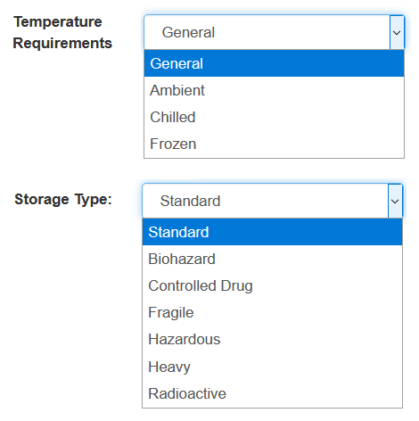 Temperature requirements and storage requirements for tms and logistics