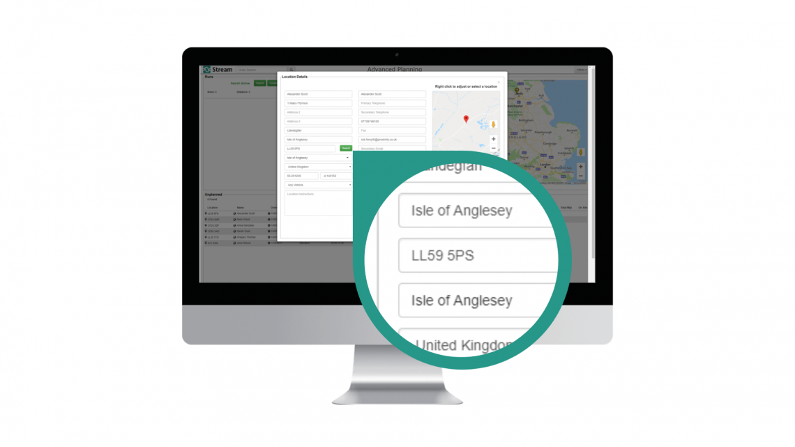 Updated address lookup in the planning screen Stream Go delivery software