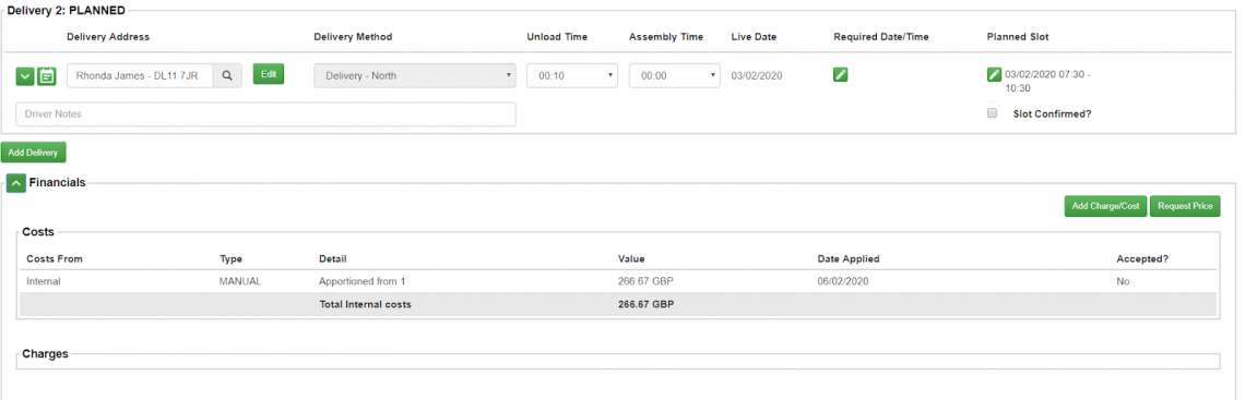 order details page where you can see the apportioned cost