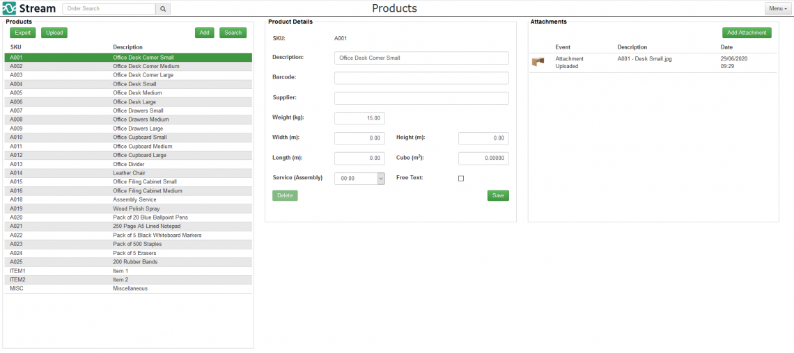 You can view all the products you have access to in the system.
