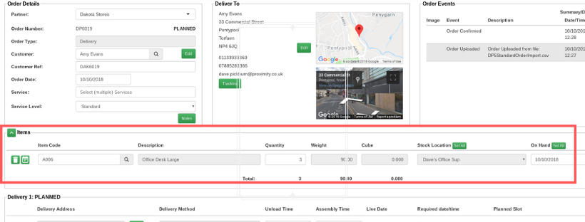 splitting line items delivery software