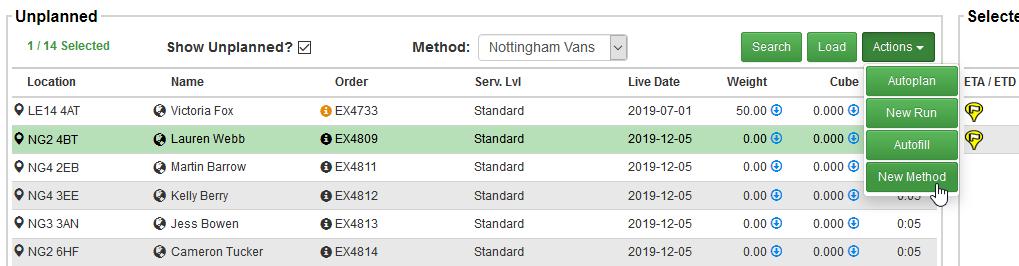 Transfer orders between Delivery methods